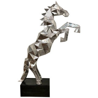 Lifesize Cubist Rearing Horse Sculpture, in the Style of Ben Foster For Sale
