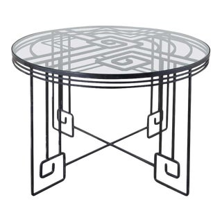 Salterini Style Greek Key Iron Garden Dining Table For Sale