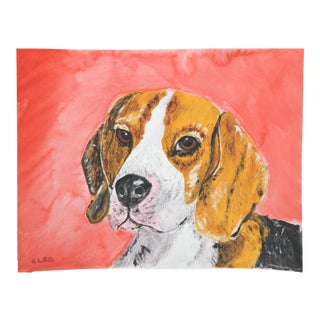 Dog Portrait Beagle Painting by Cleo Plowden For Sale