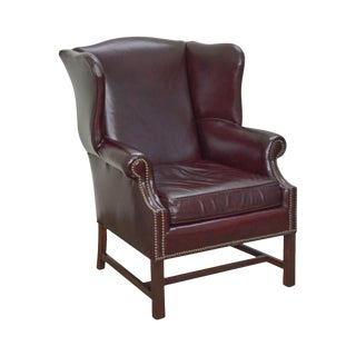 Chippendale Style Oxblood Leather Wing Chair