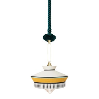 Contardi Calypso Martinique Pendant Light in Moss Green and Yellow For Sale