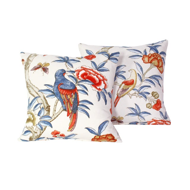 "Coral Custom Pillow Pair From Thibaut's ""Giselle"" Fabric For Sale - Image 7 of 7"