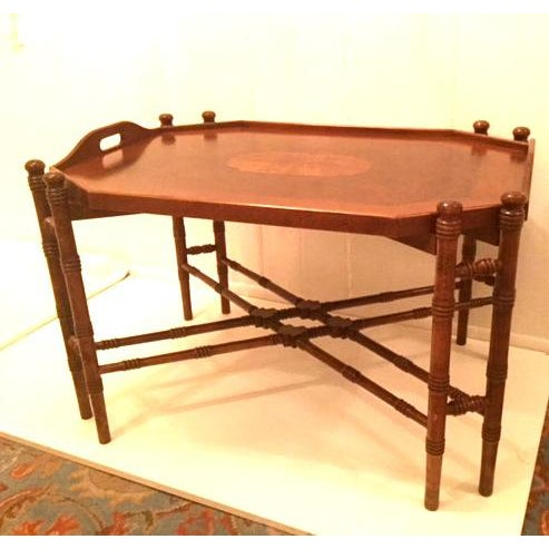1960s Traditional Mahogany Tray Table Top Coffee Table For Sale - Image 10 of 10