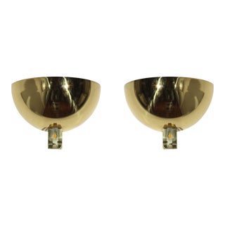 1970s Brass & Lucite Italian Sconces - a Pair For Sale