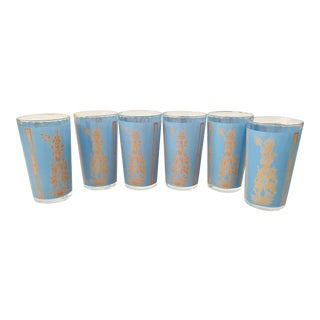 Mid-Century Thai Motif Glasses - Set of 6