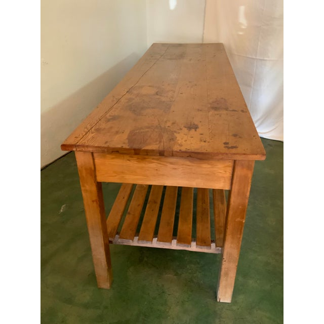 Brown 19th Century Rustic Pine Table / Sideboard For Sale - Image 8 of 13