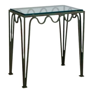'Méandre' Verdigris and Glass Night Stand by Design Frères For Sale