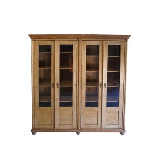 19th Century European Waxed Pine Glass Front Bookcase Biblioteque Country Preview