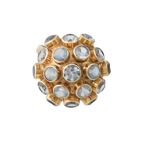 H. Stern Style 18k Gold Aquamarine Sputnik Ring For Sale