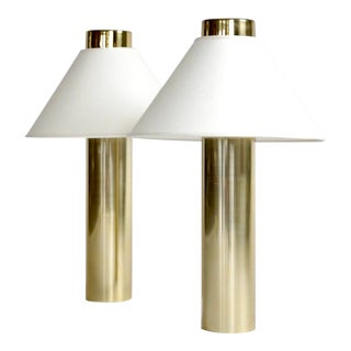1980s Brass Column Touch Lamps - a Pair For Sale