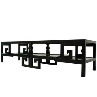 Michael Taylor for Baker Asian Rosewood & Ebonized Greek Key Coffee Table For Sale