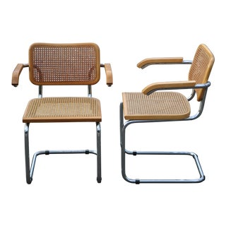 1960s Vintage Marcel Breuer Cesca Italian Chrome Wicker Cane Chairs- A Pair For Sale