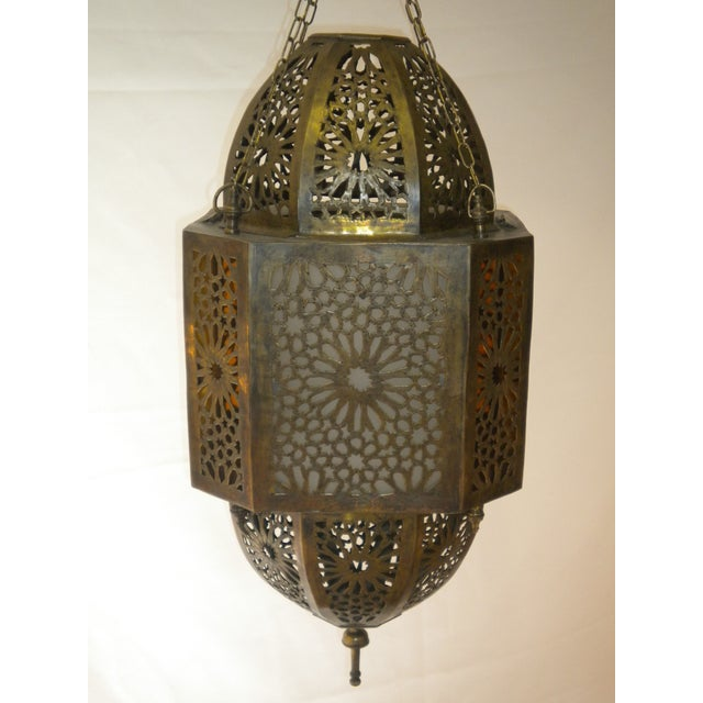 Moroccan Hand-Carved Brass Pendant For Sale In Los Angeles - Image 6 of 6