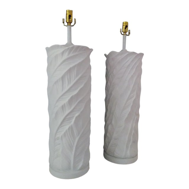 1950s Plaster Leaf Table Lamps - a Pair For Sale