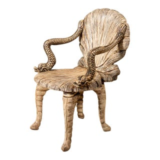 Antique Carved Wooden Grotto Chair For Sale