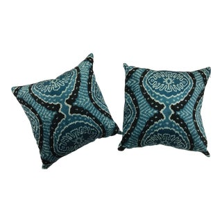 Pair of Silk Turquoise and Black Ikat Pillows For Sale