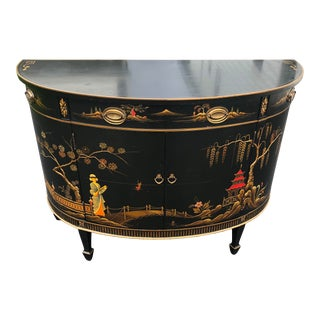 Vintage Imperial Furniture of Grand Rapids Chinoiserie Demilune Black Lacquered Entry Cabinet For Sale