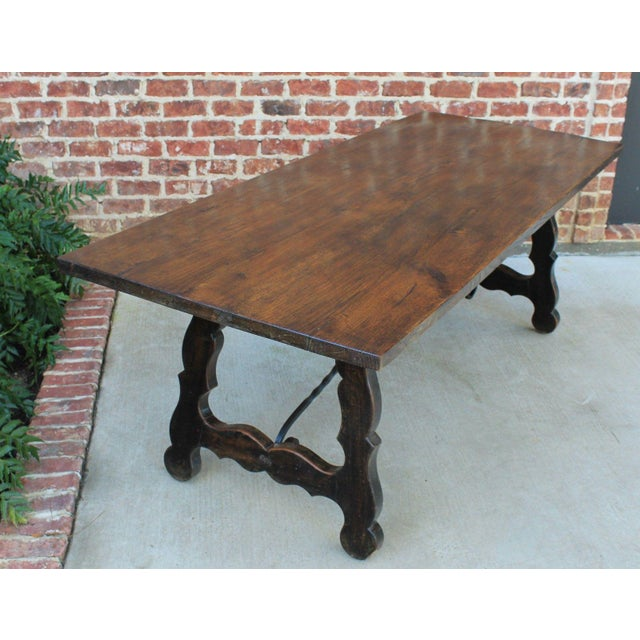 Metal Antique French Spanish Oak 19th Century Mission Catalan Style Farmhouse Dining Table Desk For Sale - Image 7 of 13