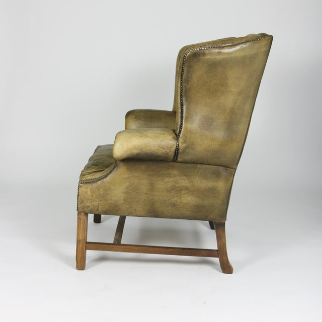 Late 19th Century Late 19th Century Mahogany and Original Tufted Green Leather Wing Chair For Sale - Image 5 of 13