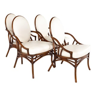 McGuire Style Mid Century Rattan Dining Chairs - Set of 4 For Sale