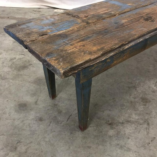 French Antique Painted Rustic Long Bench Hall Bench For Sale - Image 4 of 8
