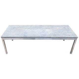 1990s Minimalistic Slate Coffee Table With Aluminum Base