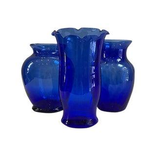 Vintage Cobalt Glass Vases - Set of 3