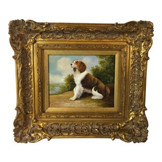 """Small Contemporary """"Spaniel Dog"""" Oil Painting For Sale"""