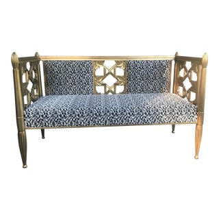 Gold Settee With Pierre Frey Fabric in Black and White For Sale