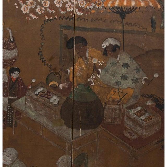 Gold Leaf C. 1920s Japanese Market Scene Gold Leaf Byobu Screen For Sale - Image 7 of 13