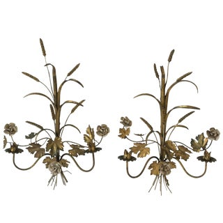 Italian Gold Gilt Metal Sheaf-Of-Wheat Wall Sconces or Wall Art For Sale