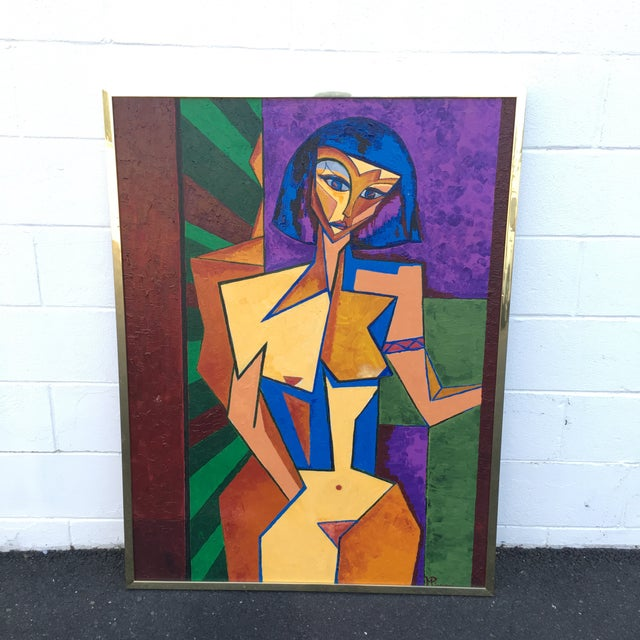 1979 Cubist Nude Woman Oil Painting in Brass Frame For Sale - Image 9 of 9