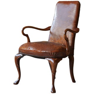 George III Style Solid Mahogany and Distressed Worn Leather Desk Armchair For Sale