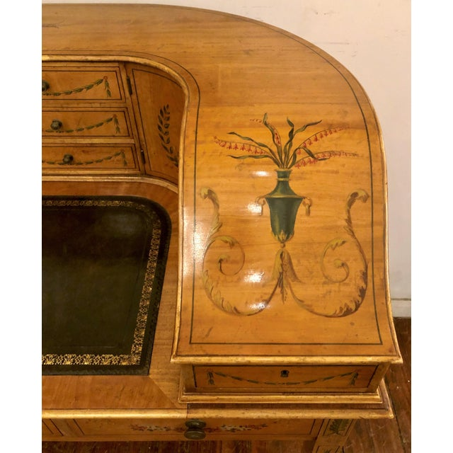 Mid 20th Century Estate English Painted Satinwood Carlton House Writing Desk. For Sale - Image 5 of 7