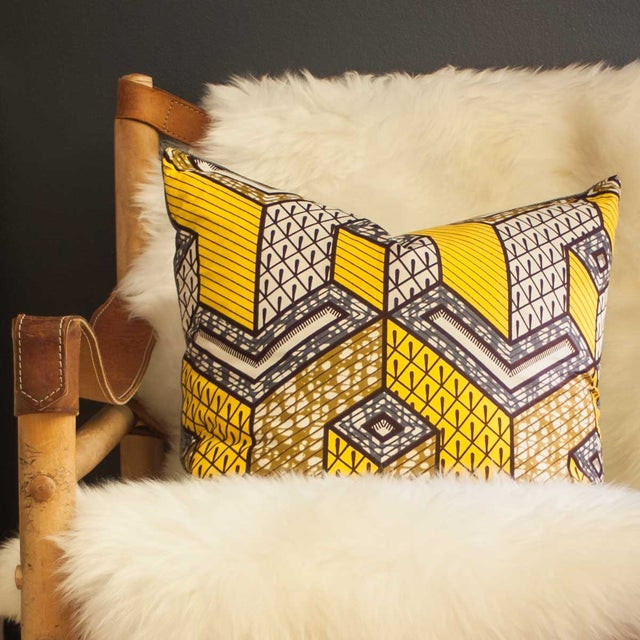 Yellow African Wax Print Square Pillow - Image 4 of 5