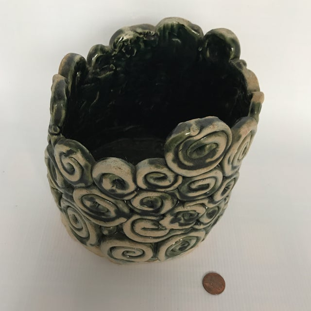 Ceramic Green Glazed Swirl Pottery Cachepot For Sale - Image 7 of 8