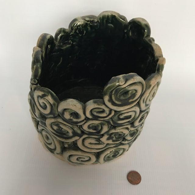 Green Glazed Swirl Pottery Cachepot - Image 7 of 8