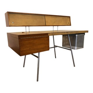 George Nelson for Herman Miller Walnut, Steel and Leather Mid Century Desk For Sale