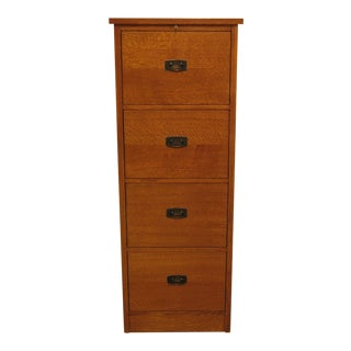 1990's Vintage Stickley 4 Drawer Mission Oak File Cabinet For Sale