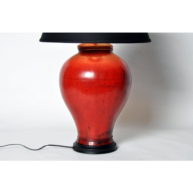 Chinese Red Lacquer Canister Table Lamp For Sale In Chicago - Image 6 of 11