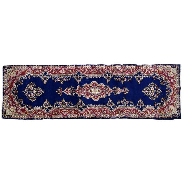 Blue 1930s, Handmade Antique Persian Kerman Runner 2.5' X 8.1' For Sale - Image 8 of 9