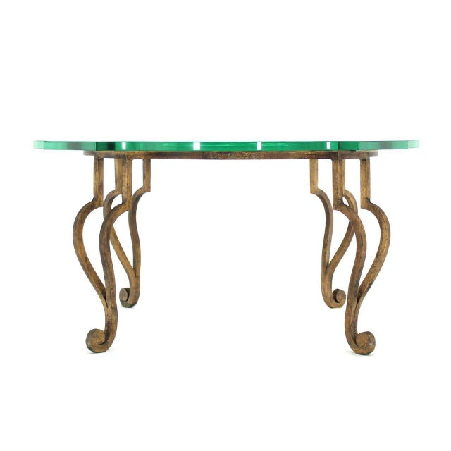 """Gold gilded heavy wrought iron base coffee table with thick figural glass top 3/4"""" ."""