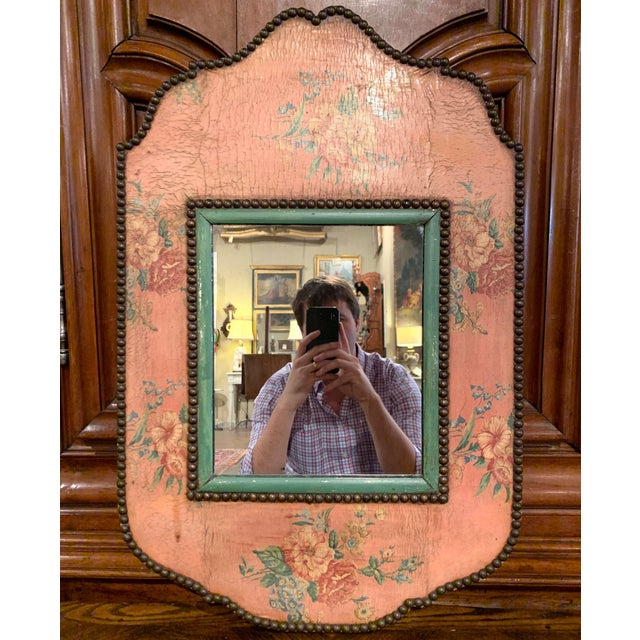 Early 20th Century French Napoleon III Hand Painted Wall Mirror For Sale - Image 4 of 9