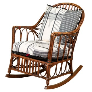 1920s Bent Wood Rocking Chair With Injiri Upholstery For Sale