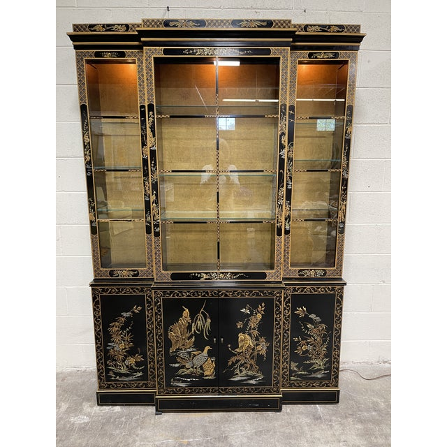 Wood Drexel Hand Painted Black Lacquer China Cabinet For Sale - Image 7 of 7