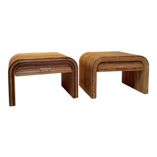 1970s Mid-Century Modern Pencil Reed Ratan Nightstands - a Pair For Sale