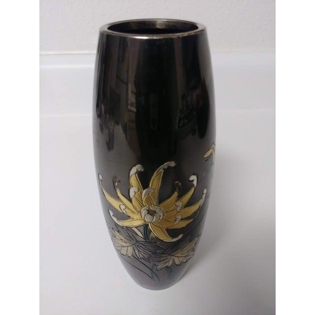 Vintage Japanese Mixed Metal Black Vase For Sale - Image 4 of 6