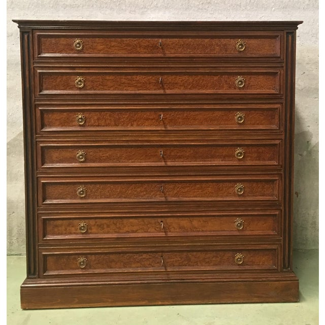 French 20th Directoire-Style Chest of Seven Drawers With Bronze Pulls, France For Sale - Image 3 of 11