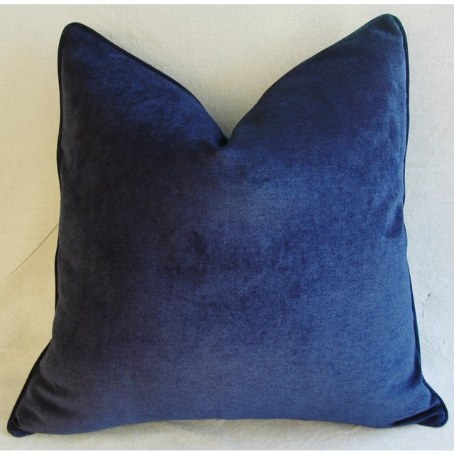 Large Designer Midnight Blue Velvet Feather/Down Pillows - Pair For Sale - Image 9 of 10