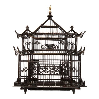 Chinese Hand Crafted Pagoda Top Birdcage For Sale